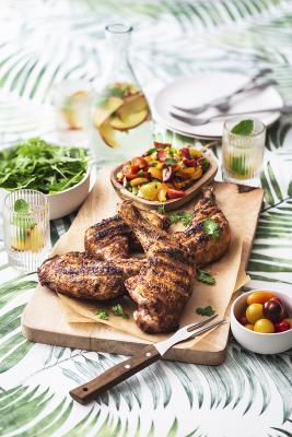 Barbecue de poulet fermier d'Auvergne aux épices Shawarma et sa salsa d'été